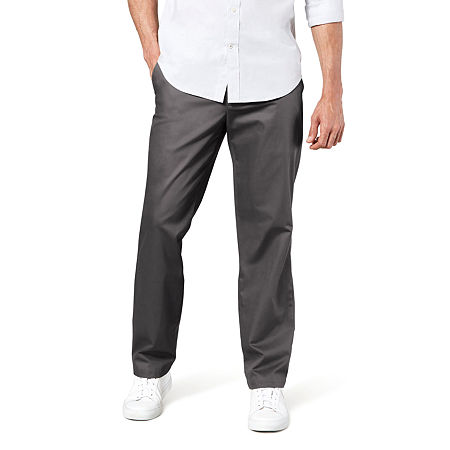 Dockers Men's Straight Fit Signature Khaki Lux Cotton Stretch Pants D2, 40 29, Gray