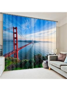 Splendid San Francisco Bridge Living Room and Bedroom Decorative Custom 3D Curtain