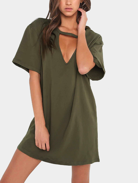 Yoins Army Green Cut Out Short Sleeves Loose Fit Dress