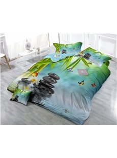 Bamboo and Cobblestone Wear-resistant Breathable High Quality 60s Cotton 4-Piece 3D Bedding Sets