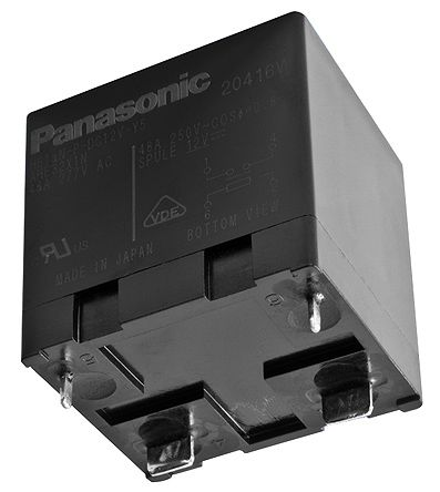 Panasonic , 12V dc Coil Non-Latching Relay SPNO, 90A Switching Current PCB Mount Single Pole (25)