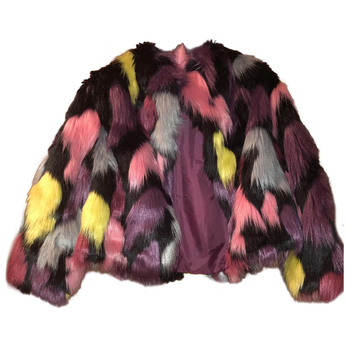 - Veste   pour femme en fourrure synthetique - multicolore