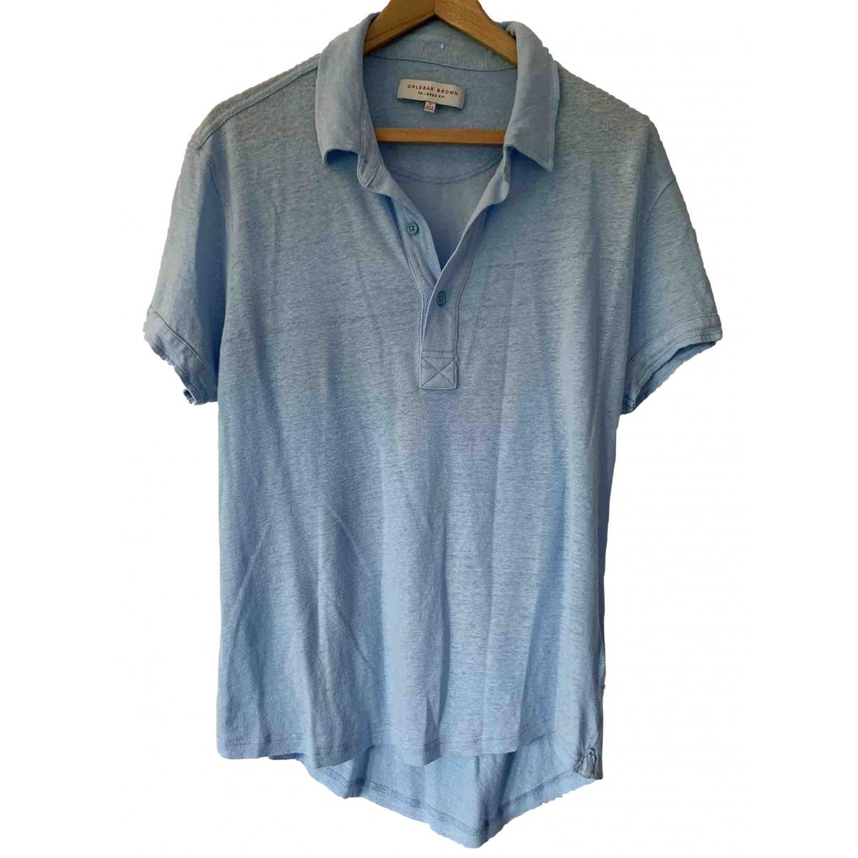 Orlebar Brown - Polos   pour homme en lin - bleu
