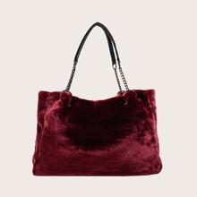 Faux Fur Decor Shoulder Bag