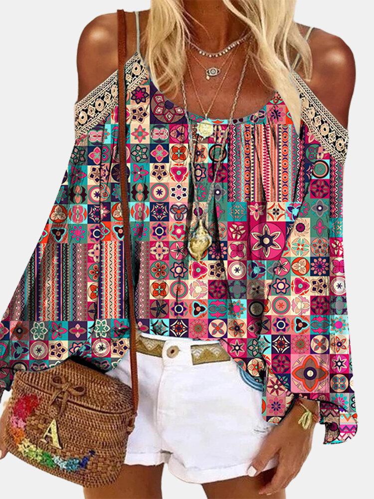 Bohemian Print Cold Shoulder Long Sleeve Blouse For Women