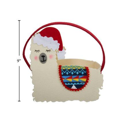 Llama Christmas Felt Candy Basket with Handles, 9 - Santas Secrets