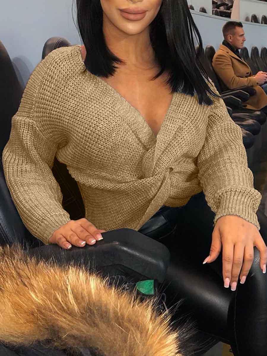 LW Lovely Stylish V Neck Knot Design Apricot Sweater