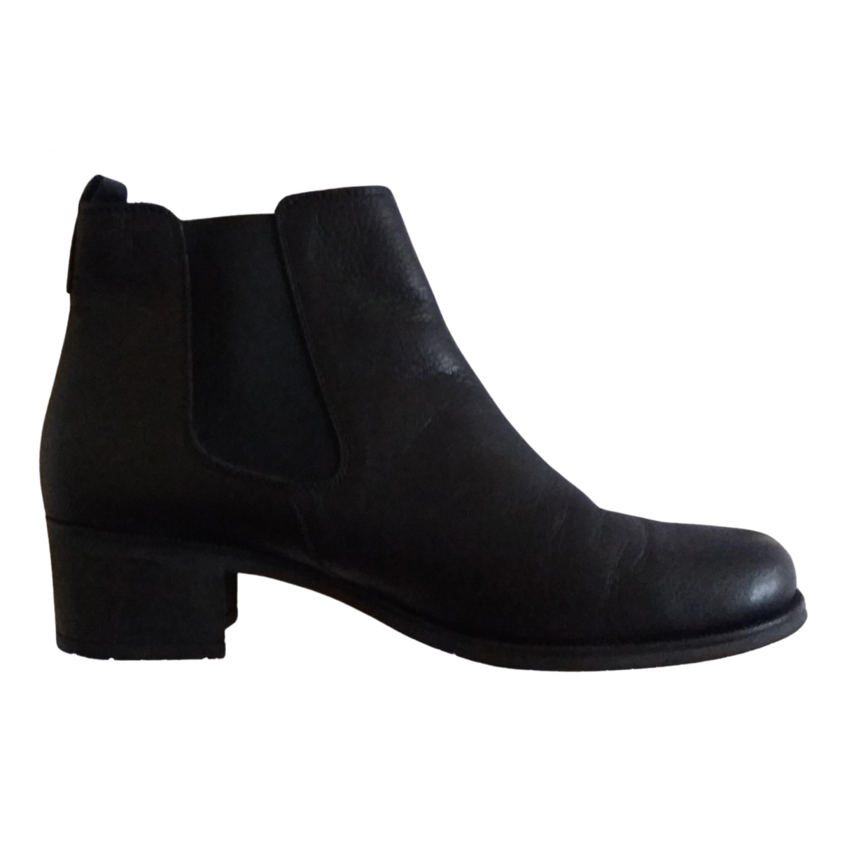 Non Signé / Unsigned N Black Leather Ankle boots for Women 40 EU