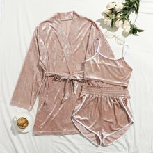 Velvet Belted Night Robe Without Cami Top & Shorts
