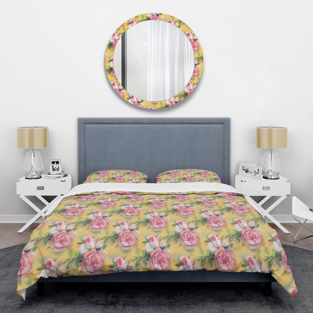 Designart 'Hand-drawn Pink Watercolor Roses.' Mid-Century Duvet Cover Set (Full/Queen Cover +2 Shams (comforter not included))