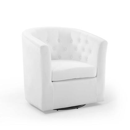 Prospect Collection EEI-4138-WHI Tufted Performance Velvet Swivel Armchair in White