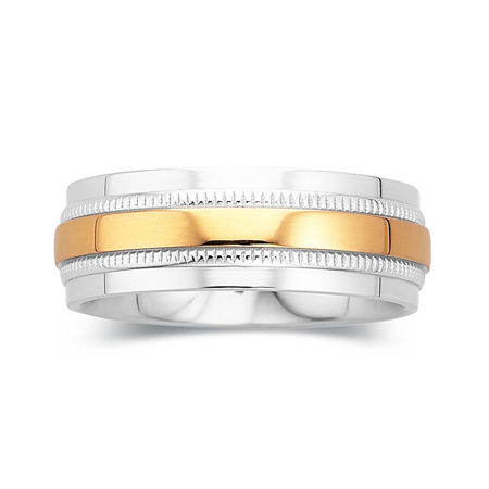 Mens Wedding Band, 8mm Comfort Fit, 10 , No Color Family