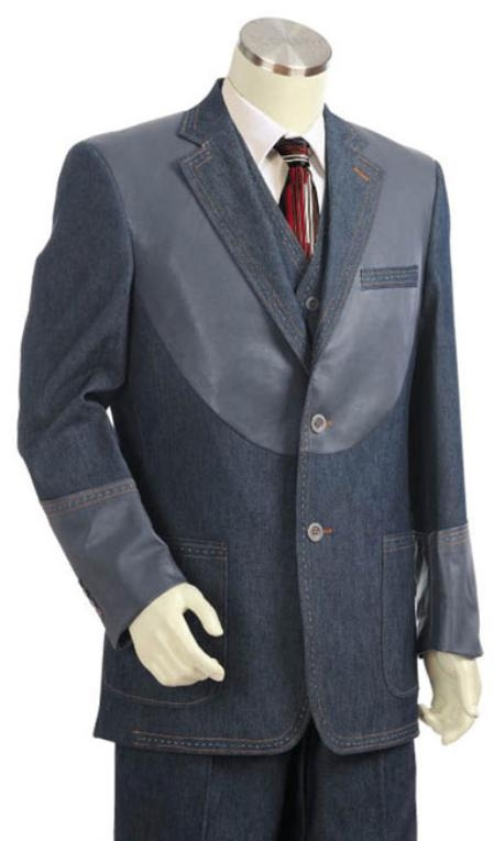 Mens 2 Button 3pc Denim Cotton Fabric Two Tone Blazer/Suit/Tuxedo Grey