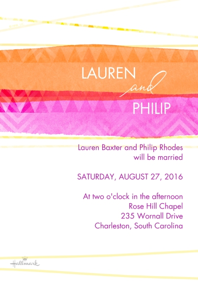 Wedding Invitations 5x7 Cards, Premium Cardstock 120lb with Rounded Corners, Card & Stationery -Watercolor Stripes Invitation