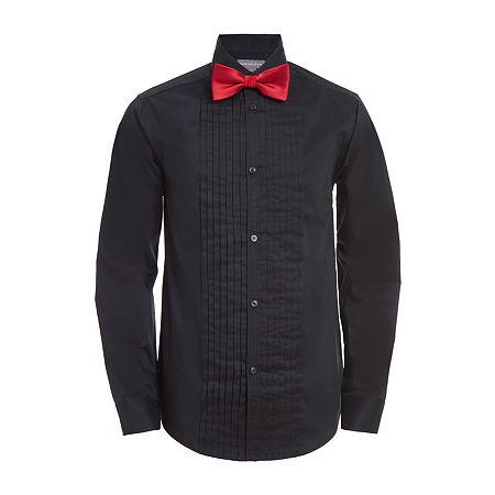 Van Heusen Big Boys Husky Long Sleeve Tuxedo Shirt, 18-20 Husky , Black