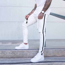 Men Tape Side Ripped Belted Jeans