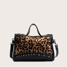 Bolsa cartera de leopardo con tachuela