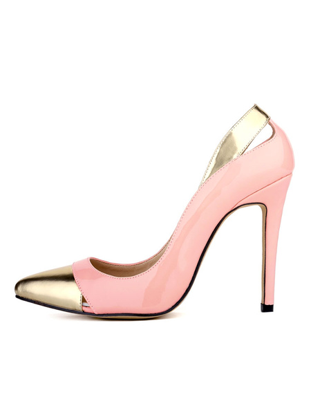 Milanoo Women's Apricot Pumps Pointed Cap Toe Stiletto Color Block Designed Cut Slip On High Heel Shoes