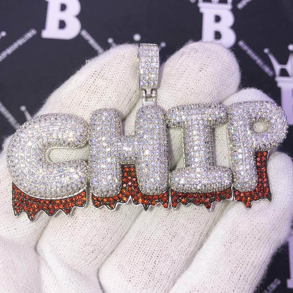 Custom Fire Bubble Letter Name Pendant | Personalized Iced Out Initials