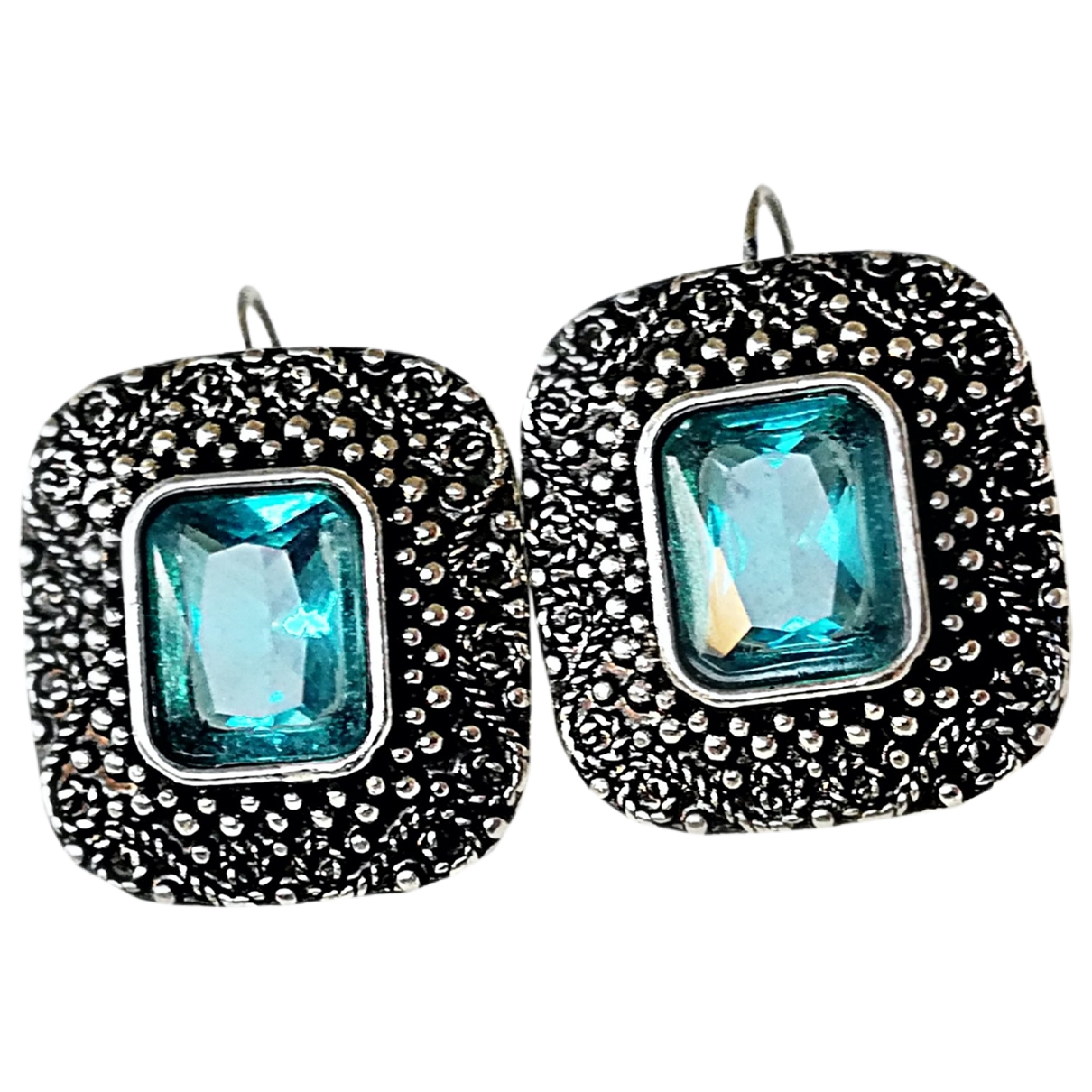 - Boucles doreilles Dormeuses pour femme en cristal - bleu