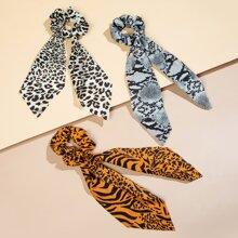 3 Stuecke Haargummis mit Leopard Muster