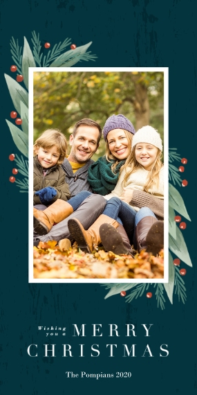 Christmas Photo Cards 4x8 Flat Card Set, 85lb, Card & Stationery -Winter Greenery