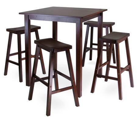 94549 Parkland 5pc Square High/Pub Table Set with 4 Saddle Seat Stools  Antique