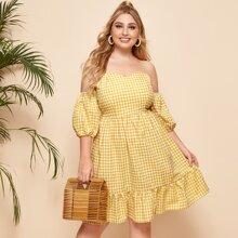 Schulterfreies Kleid mit Karo Muster