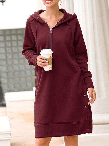 Milanoo Hoodie For Women Burgundy Long Sleeves Buttons Polyester Split Hoodie Dress