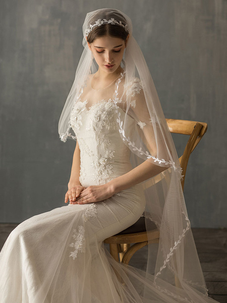 Milanoo Wedding Veil One Tier Piping Tulle Finished Edge Drop Bridal Veil