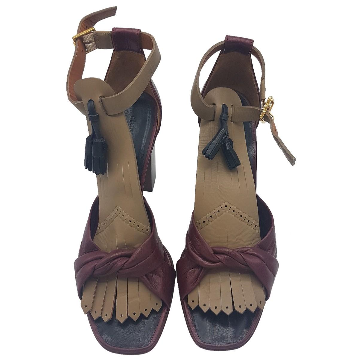 Celine - Sandales   pour femme en cuir - bordeaux