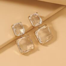 Clear Square Charm Drop Earrings
