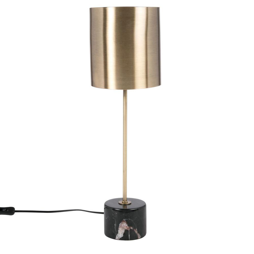 Lampe aus goldfarbenem Metall und schwarzem Marmor