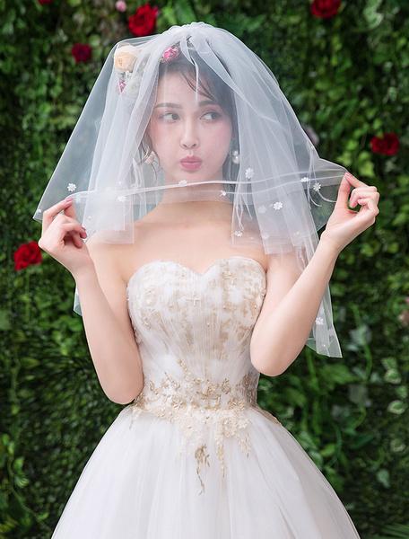 Milanoo Wedding Veil Feathers Ivory Two Tier Applique Tulle Cut Edge Classic Bridal Veil