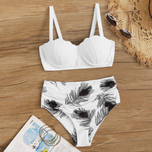 Feather Print Shell Shaped Underwire High Waisted Swimsuit