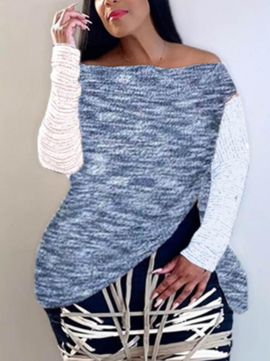 LW Lovely Casual Bateau Neck Patchwork Blue Plus Size T-shirt