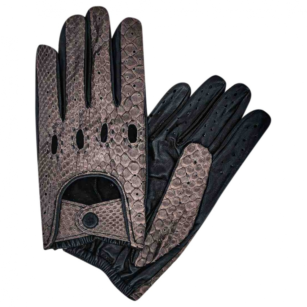 Non Signé / Unsigned \N Brown Python Gloves for Men M International
