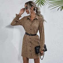 All Over Print Shirt Dress Without Belt