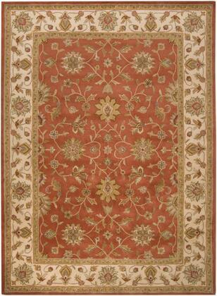 Crowne CRN-6002 9' x 13' Rectangle Traditional Rug in Camel  Khaki  Tan  Dark Brown  Charcoal  Dark