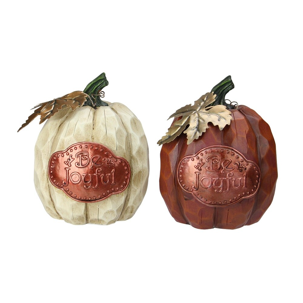 Set of 2 Brown and Green Autumn Harvest Pumpkin Thanksgiving Tabletop Figurine (Brown)