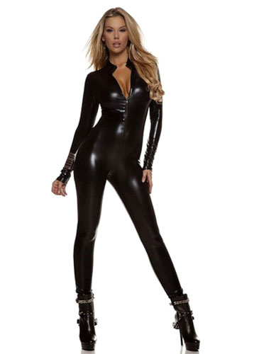 Milanoo Disfraz Halloween Brillante traje metalico Zentai negro profundo-V para las mujeres Halloween