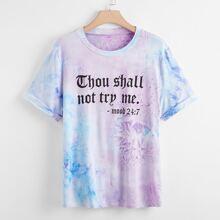 Plus Tie Dye Slogan Graphic Tee