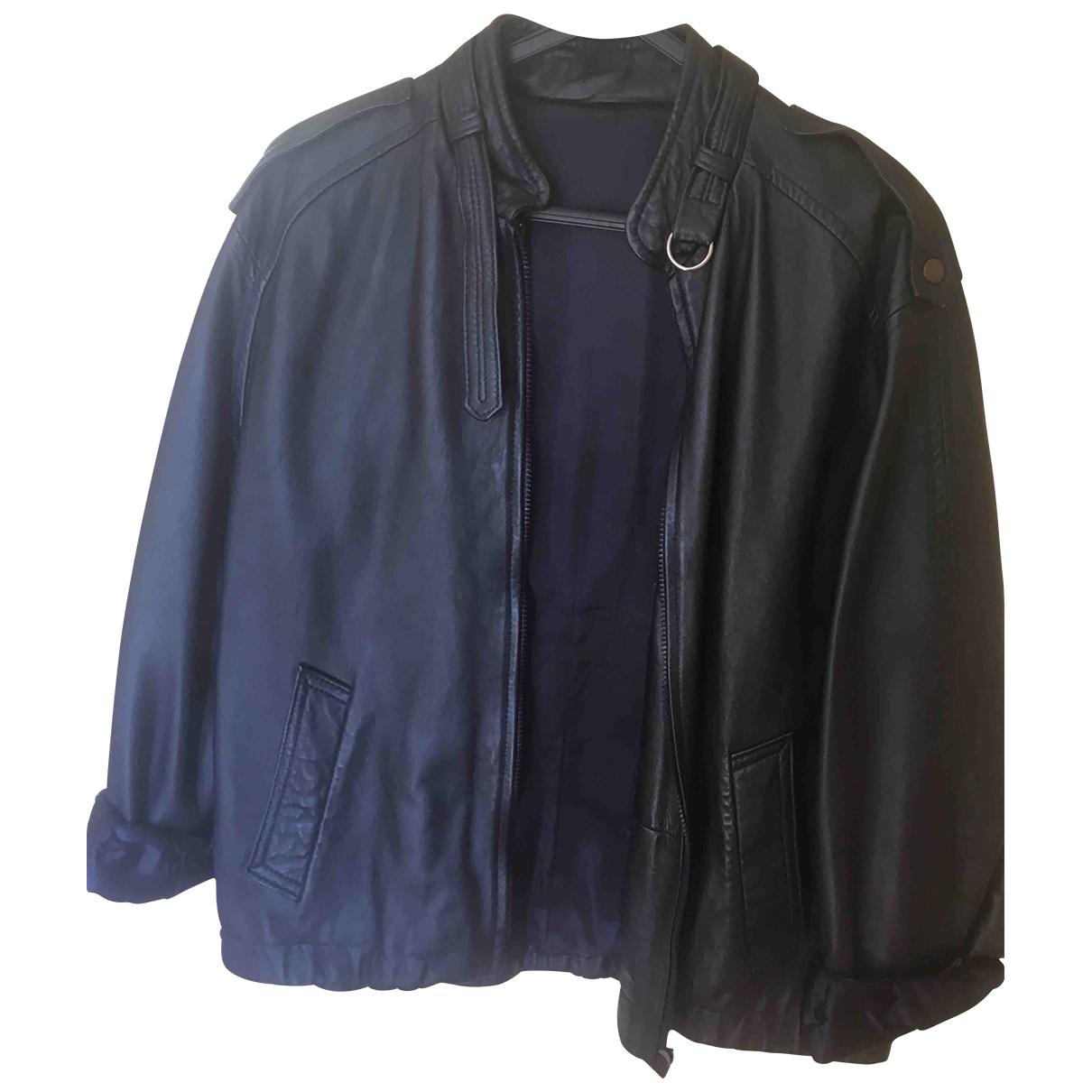- Blouson Oversize pour femme en cuir - bleu