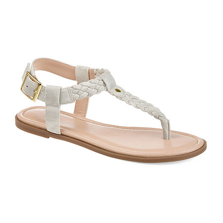Journee Collection Womens Genevive Ankle Strap Flat Sandals, 9 Medium, Gray