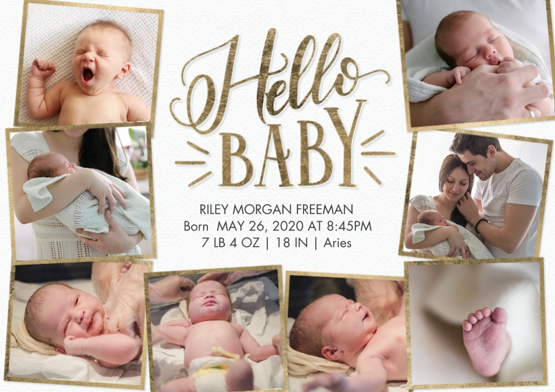 Baby Announcements 5x7 Cards, Premium Cardstock 120lb, Card & Stationery -Baby Hello Snapshots by Tumbalina