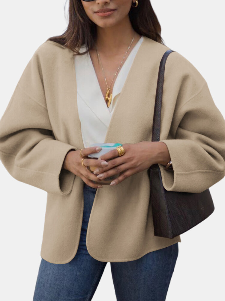 Solid Color Long Sleeve Casual Coat For Women