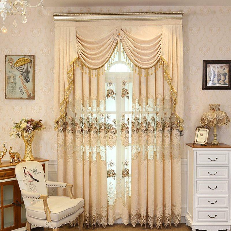 European Style Elegant Beige Drapes Grommet 2 Panels For Living Room and Bedroom