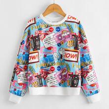 Girls Drop Shoulder Mixed Print Pullover