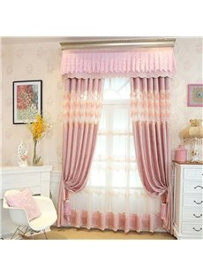 European Style Romantic Pink Custom Chenille Living Room Sheer Curtain