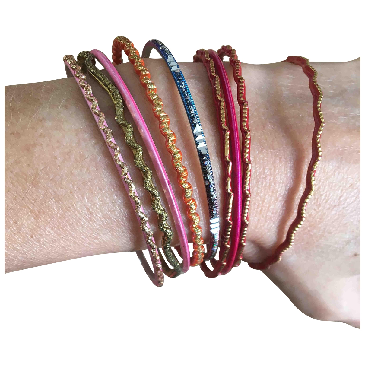 Non Signe / Unsigned Motifs Ethniques Armband in  Bunt Kunststoff